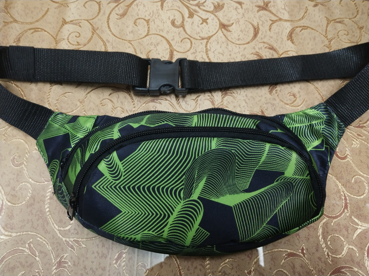 Барсетка барыжка бананов поясная сумка черная с зеленым узором