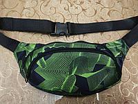 Барсетка барыжка бананов поясная сумка черная с зеленым узором, фото 1