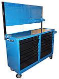 Тележка инструментальная 14 полок с боковыми шкафчиками и перфорированной панелью, фото 5