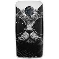 Чехол с рисунком Printed Silicone для Motorola Moto X4 XT1900 Кот в очках