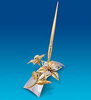 Письменный набор Сваровски Лилия с позолотой