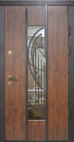 Двери уличные, модель Thermo Steel 20-08, 2 замка, стеклопакет, ковка, фото 2