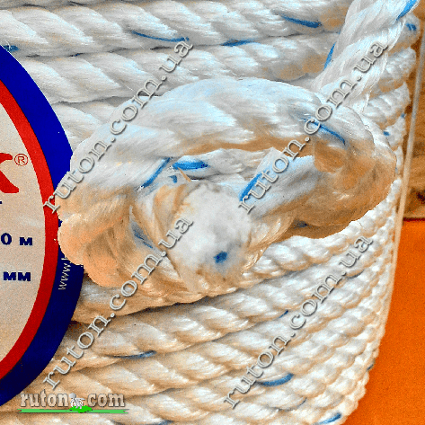 Канат крученый трехпрядный полипропиленовый канатной свивки 22 мм - 100м Birlik, фото 2