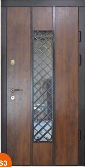 Двери уличные, модель Thermo Steel 20-09, 2 замка, стеклопакет, ковка