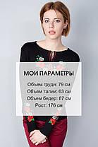 """Футболка вышиванка """"Мак-ромашка)"""" длинный рукав черная KRAYKA, фото 3"""