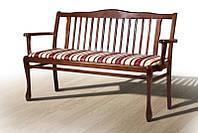 Лавка классическая Версаль 880х570х1450 с мягким сиденьем цвет темный орех, ткань Jakard Poliester 5/1