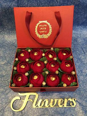 Подарочная коробка с цветами из конфет! Трюфель Оригинальный (АВК), фото 2