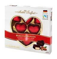 Конфеты марципановые в темном шоколаде Сердечки  Marzipan Herzen Maitre Truffout Австрия 110г, фото 1
