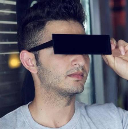 Модные солнцезащитные очки прямоугольной формы. Черные Очки, фото 2