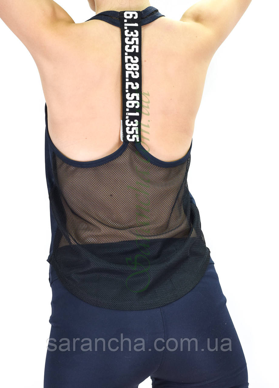 Жіноча спортивна накидка/майка синій камуфляж принт