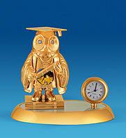 """Позолочена фігурка з годинником """"Сова"""" з кристалами Сваровські AR-4376/ 6"""