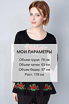 """Туника вышиванка """"Маки"""" длинный рукав черная KRAYKA, фото 2"""
