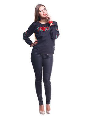 """Сорочка вышиванка """"Маки"""" черная расшитый рукав KRAYKA, фото 2"""