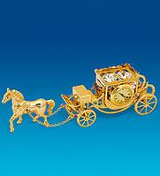 """Позолоченная фигурка с часами """"Карета с лошадью"""" с кристаллами Сваровски"""