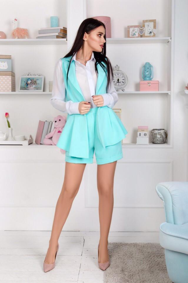 """Летний женский костюм """"Erika"""" мини-шорты и жилет (4 цвета)"""