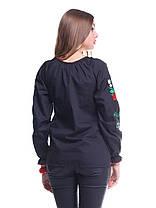 """Сорочка вышиванка """"Волошки"""" расшитый рукав черная KRAYKA, фото 2"""