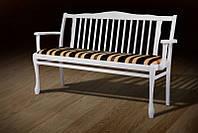 Лавка классическая Версаль 880х570х1450 с мягким сиденьем цвет белый, ткань Jakard Poliester 1901/5