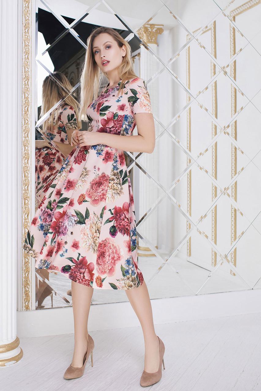 Пудровое цветочное Платье