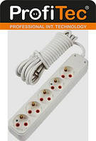 Удлинитель электрический 5 гнёзд с заземлением 3 метра PROFITEC цвет белый 16 А 3500 вт