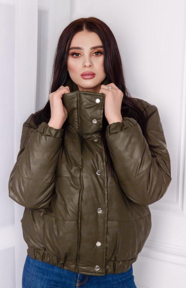 """Короткая стеганая женская куртка на синтепоне """"MILITARY"""" с карманами"""