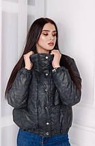 """Короткая стеганая женская куртка на синтепоне """"MILITARY"""" с карманами, фото 3"""