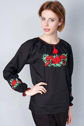 """Сорочка вышиванка """"Маки"""" черная KRAYKA, фото 2"""