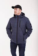 Модная демисезонная мужская куртка  удлиненная  48-58 синий