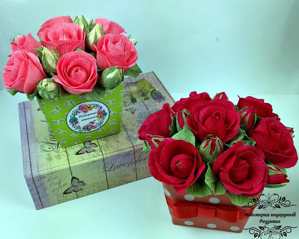 Букет з цукерок троянди в коробці. Подарунок мамі, бабусі, дружині, вчительці, виховательці, колезі