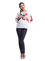 """Женская сорочка """"Мак волошки"""" лен с напылением , бежевая, фото 3"""
