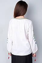 """Женская сорочка """"Мак волошки"""" лен с напылением , бежевая, фото 2"""
