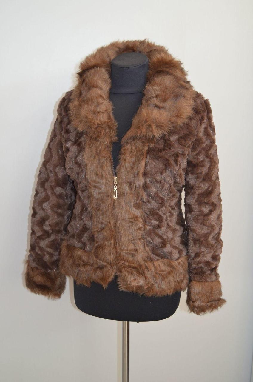 Куртка меховая под стриженый кролик кофейный