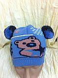 Одинарная голубая вязаная шапочка для мальчика с ушками -помпонами, фото 5