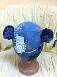 Одинарная голубая вязаная шапочка для мальчика с ушками -помпонами, фото 6