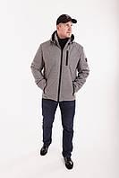 Куртки мужские осенние с капюшоном  48-58 серый