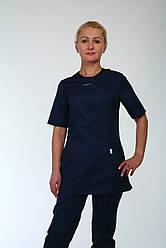 Медицинский женский брючный костюм синего цвета