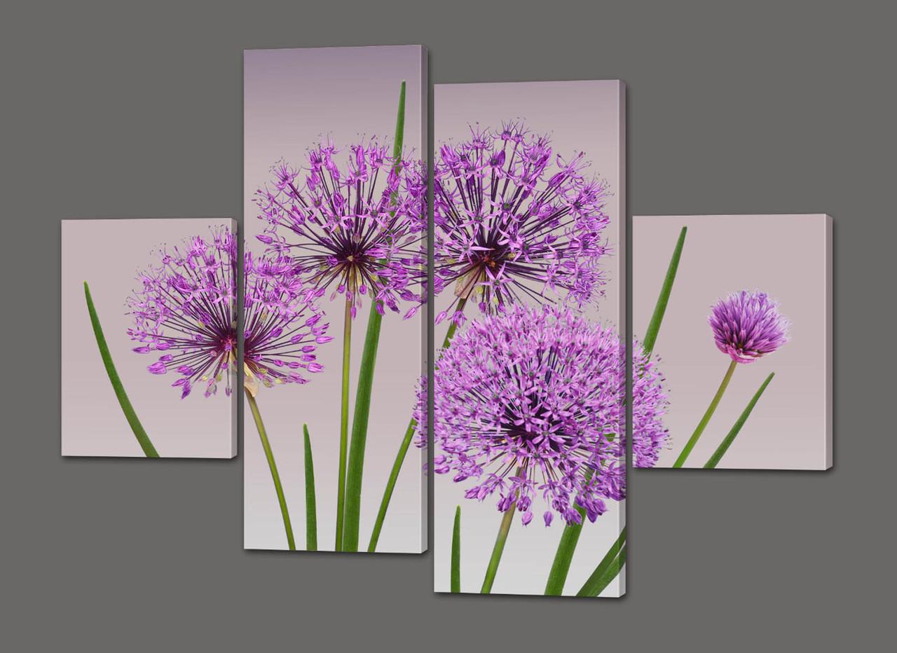 Панно из частей Стильные цветы 120*93 см  Код: 491.4к.120