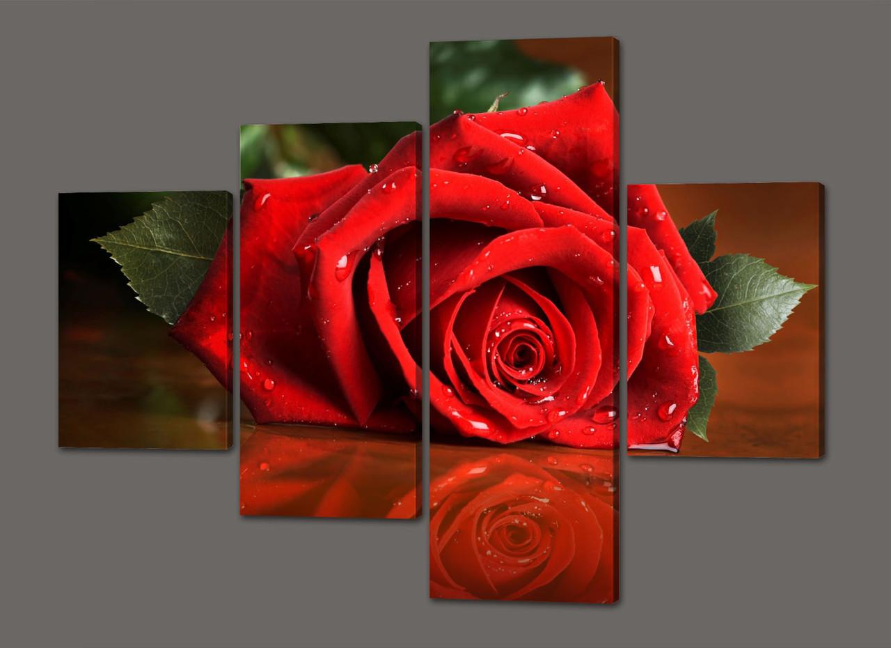 Модульная картина Красная роза 120*96,5 см  Код: 409.4к.120