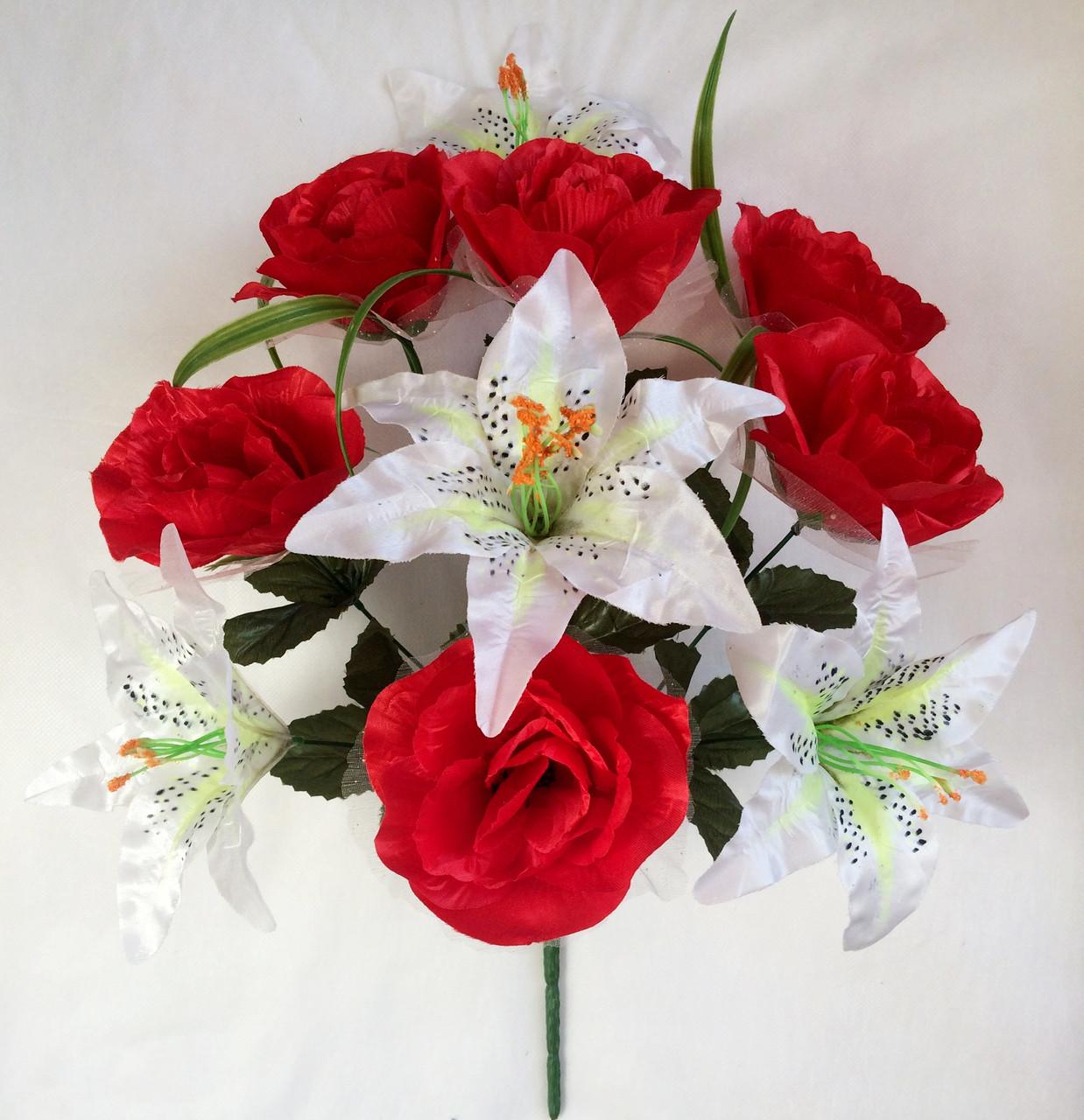 Букет  роз и лилий, 55см (10 шт. в уп)