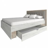 Кровать двухспальная Сокме Милана с ящиком 160 + ламель 160х200 дуб крафт белый/дуб крафт серый