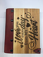 Деревянный блокнот «Love Day Heart». Цікаві Подарунки. Дубовая обложка, натуральная кожа