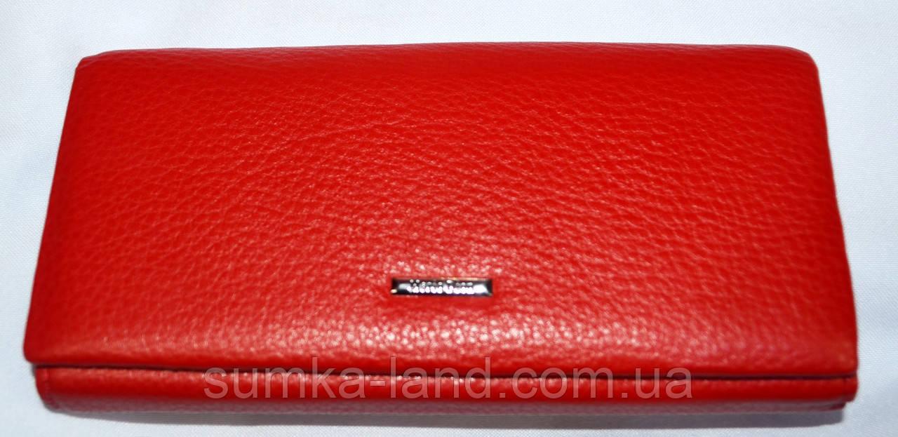 Женский красный кошелек Mario Dion из натуральной кожи на магните 19*10 см