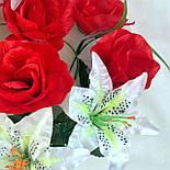 Букет  роз и лилий, 55см (10 шт. в уп), фото 2