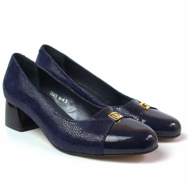 Туфли большого размера женские на каблуке 4 см Pyra V Gold Blu Lether by Rosso Avangard кожаные синие