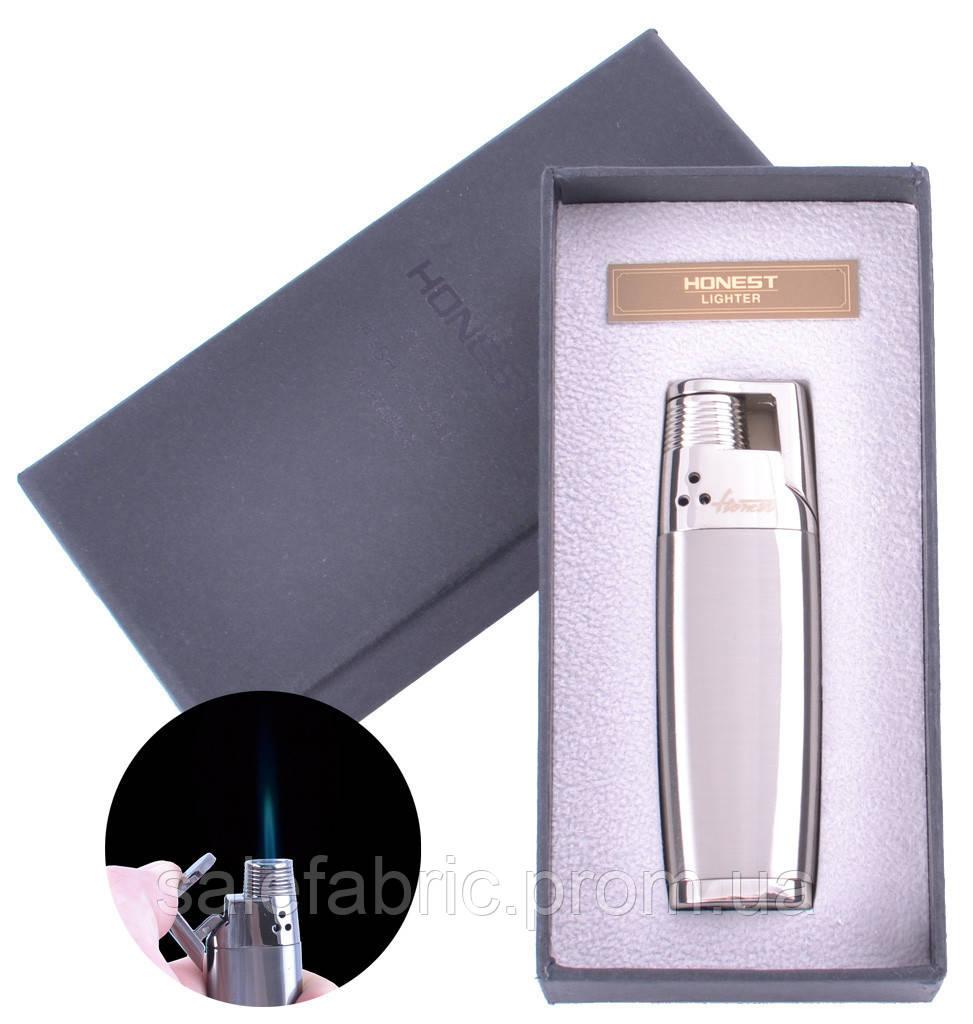 Зажигалка подарочная Honest (Острое пламя) №3877 Silver