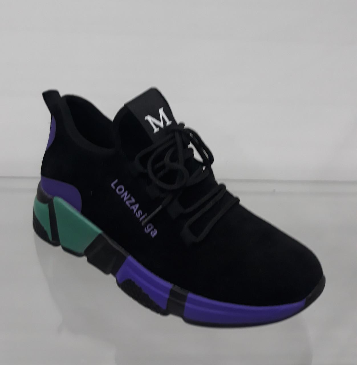 a058d0e4d Модные черные кроссовки-носки женские на яркой цветной подошве - Интернет  магазин