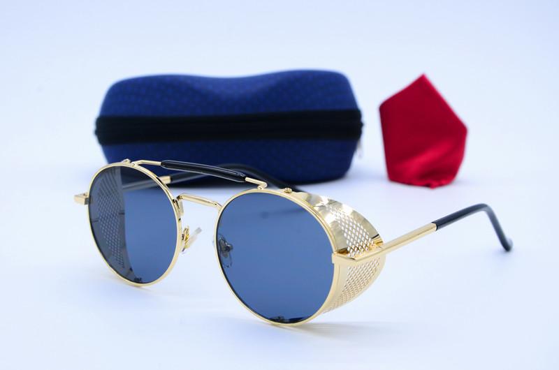 Круглые солнцезащитные женские очки 66547 черн золото