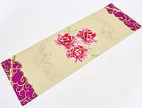Коврик для йоги и финеса Zelart Yogamat 3 мм джутовый, каучук, бежево-фиолетовый (FI-7157-7)