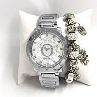Часы женские Pandora (браслет в подарок) - белый циферблат