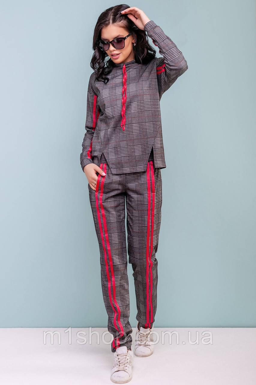 Женский костюм в клетку с лампасами (3193-3195-3196-3197 svt)