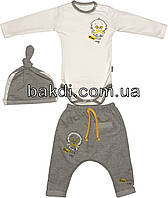 Детский костюм рост 68 (3-6 мес.) интерлок серый на мальчика (комплект) для новорожденных С-926
